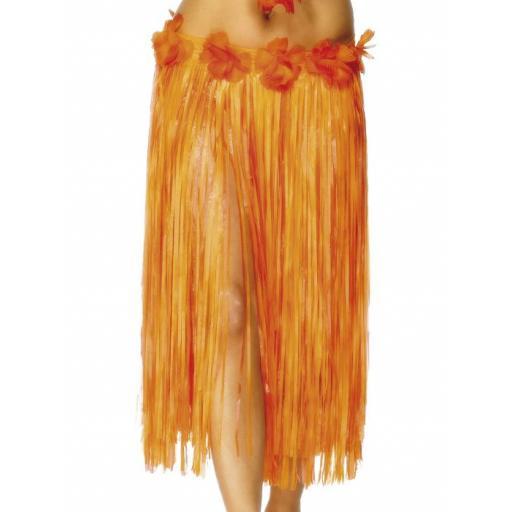 Hawaiian Hula Skirt, Orange, with Flowers & Velcro Fastening, 29 inches