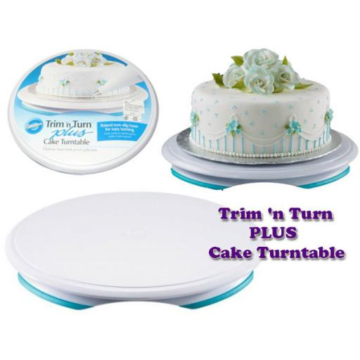 "Trim 'n Turn Plus Cake Turntable 12"" Round Blue & White"