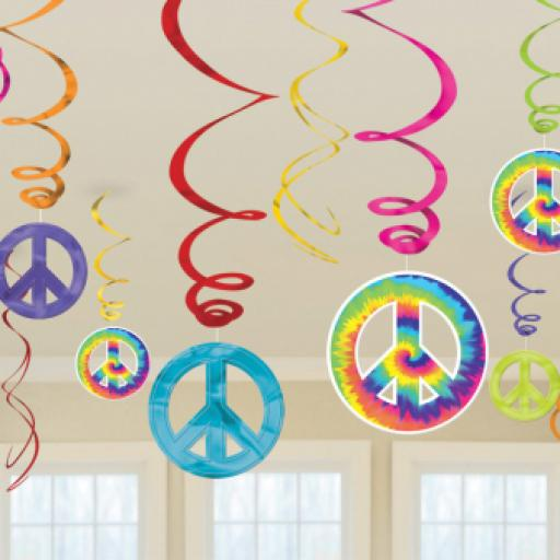 80s Groovy Hanging Swirls Decorations Pack of 12