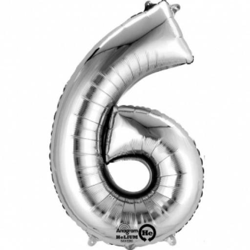 34 inch Number 6 Silver SuperShape Foil Balloon