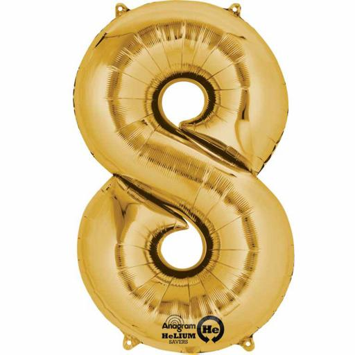"Number 8 Gold Minishape Foil Balloon 16""/40cm Air-Fill"
