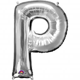 "Letter P Supershape Silver Foil Balloon 34""/""86cm"