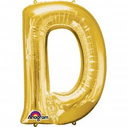 "Letter D Supershape Gold Foil Balloon 34""/""86cm"
