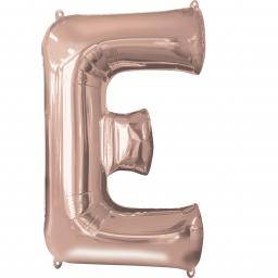 Letter E Rose Gold SuperShape Foil Balloons 21/53cm w x 32/81cm