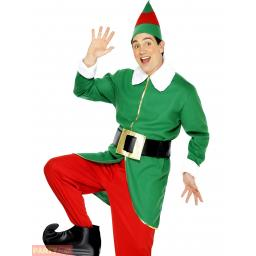 Elf Costume, Red & Green, with Jacket, Trousers, Hat, Belt Adult Medium Size