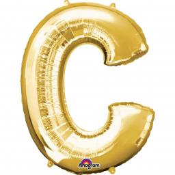 "Letter C Supershape Gold Foil Balloon 34""/""86cm"