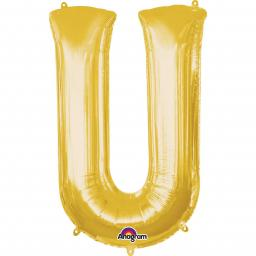 "Letter U Supershape Gold Foil Balloon 34""/""86cm"