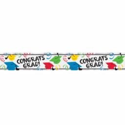 Multi-Colours Graduation Hats Foil Banner 1pc 9ft