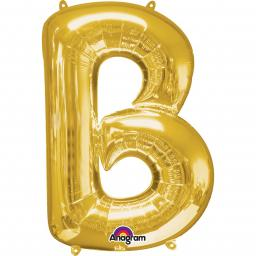 "Letter B Supershape Gold Foil Balloon 34""/""86cm"