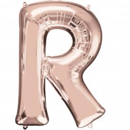 Letter R Rose Gold SuperShape Foil Balloons 24/60cm w x 32/81cm