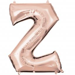 Letter Z Rose Gold SuperShape Foil Balloons 25/63cm w x 33/83cm