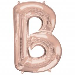 Letter B Rose Gold SuperShape Foil Balloons 26/66cm w x 32/81cm