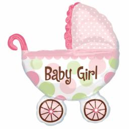 "Baby Buggy Girl SuperShape Foil Balloon 28""/71cm w x 31""/79cm"