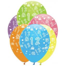 Age 12 Printed Helium Quality Latex Balloons Pack of 6