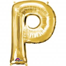 "Letter P Supershape Gold Foil Balloon 34""/""86cm"