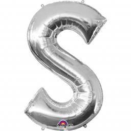 "Letter S Supershape Silver Foil Balloon 34""/""86cm"