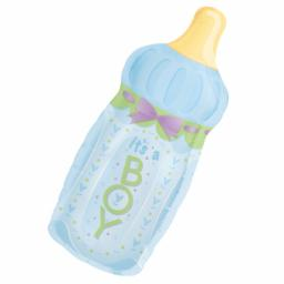 "Baby Bottle Boy SuperShape Foil Balloon 13""/33cm w x 31""/79cm"