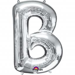 "Letter B Supershape Silver Foil Balloon 34""/""86cm"
