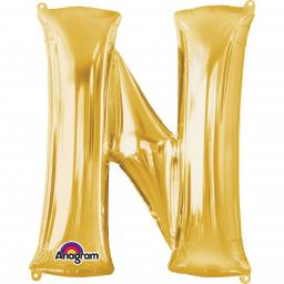 "Letter N Supershape Gold Foil Balloon 34""/""86cm"