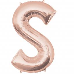 Letter S Rose Gold SuperShape Foil Balloon 21/53cm w x 35/88cm