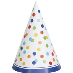 Rainbow Polka Dot Paper Party Hat Pack of 8