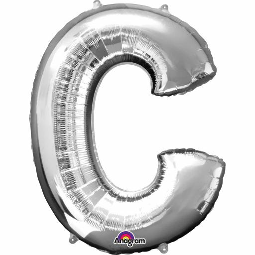 "Letter C Supershape Silver Foil Balloon 34""/""86cm"