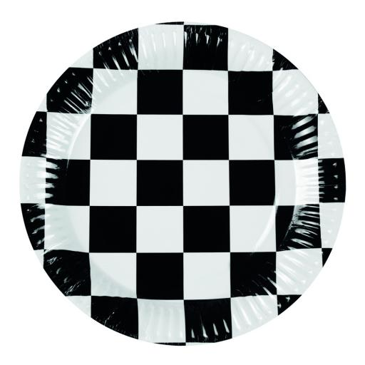 Chequered Flag Racing Theme 23cm Paper Plates Pack of 6