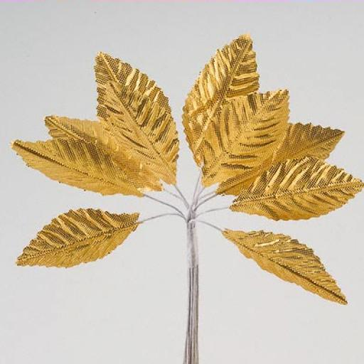 Satin Leaves Gold 36pcs Per Pack Size 40x25mm