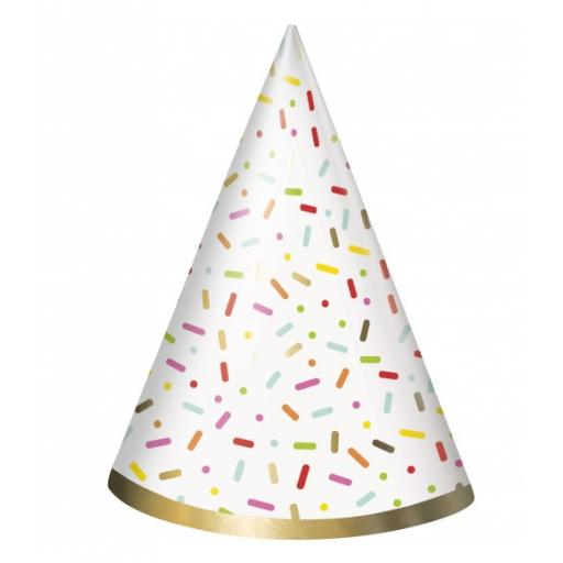 Sprinkle Paper Party Hats Pack of 8