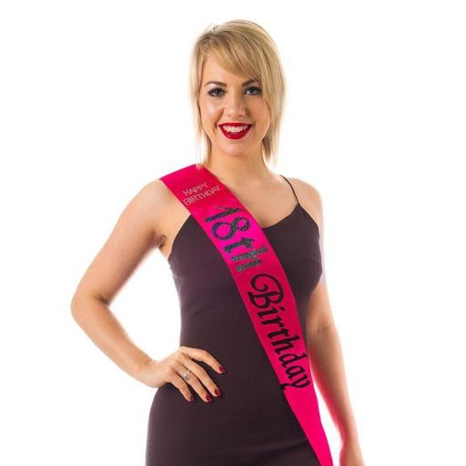 Happy Birthday 18 th Birthday Hot Pink Sash With Black Letters
