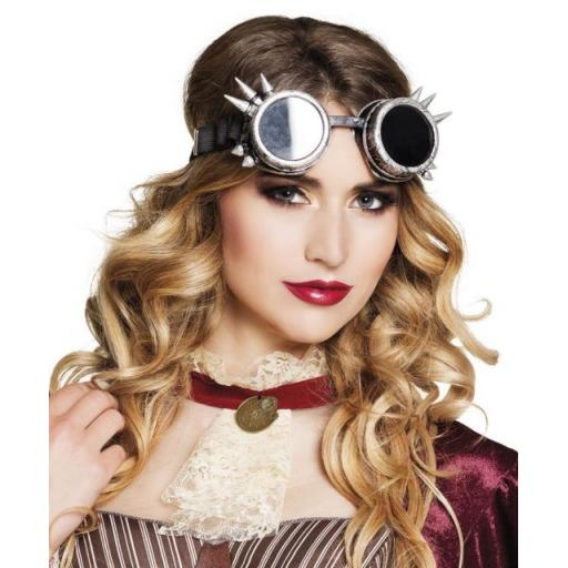 Silver Steampunk Cyber Glasses Goggles