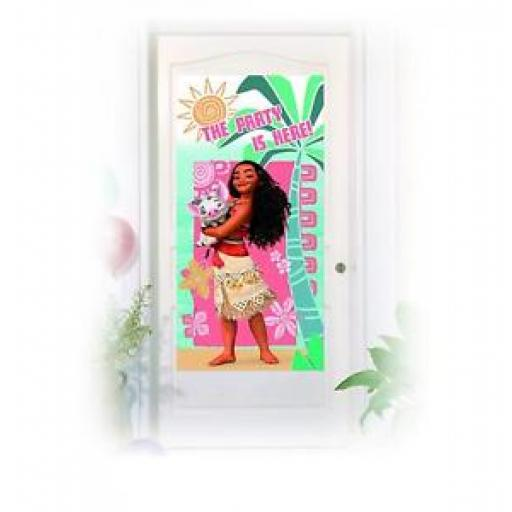 Moana The Party is Here Plastic Door Poster Banner 75 x 150cm