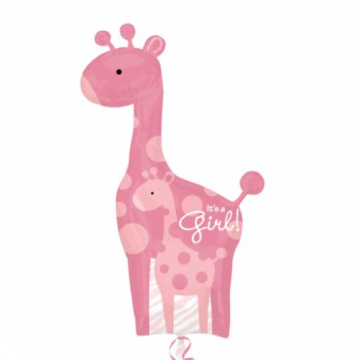 "Mom & Baby Pink Giraffes SuperShape XL Foil Balloon 25""/64cm w x 42""/107cm"