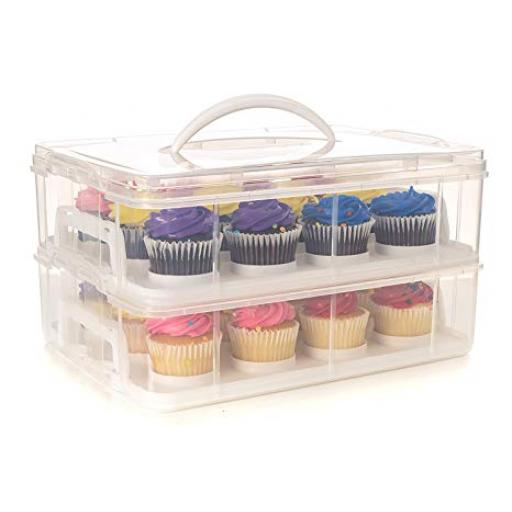 Clear Plastic 24 Hole Cupcake Stackable Transporter Box