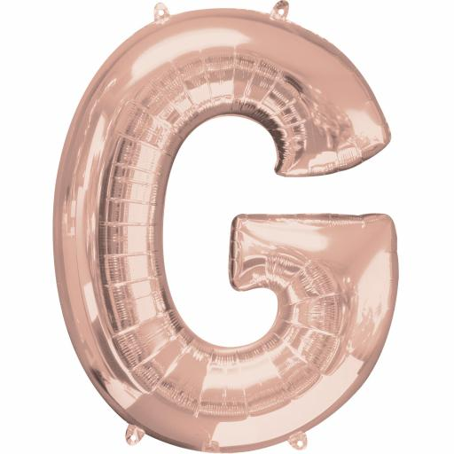 Letter G Rose Gold SuperShape Foil Balloons 26/66cm w x 32/81cm