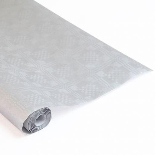 Damask Banqueting Roll Silver/Grey 118 x 7m Paper