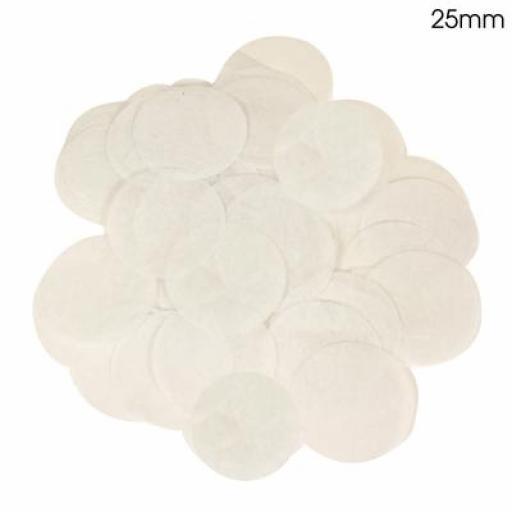 White Confetti 100g 25mmTissue Paper Bio-degradable, Flame retardant
