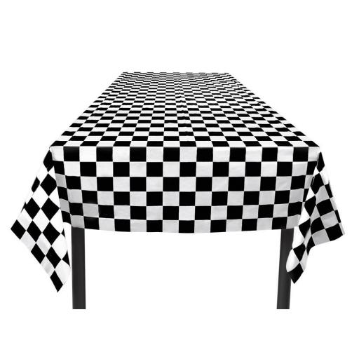 Racing Theme Plastic Tablecloth Chequered Flag 130x180cm