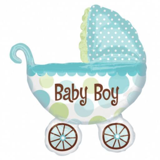 "Baby Buggy Boy SuperShape Foil Balloon 28""/71cm w x 31""/79cm"