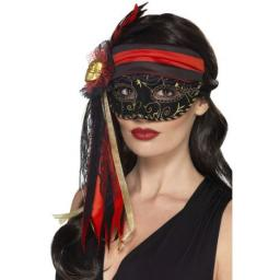 Masquerade Pirate Eyemask, Black with gold skull on the side