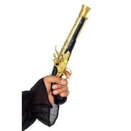 Realistic Pirate Blunderbuss Pistol, Black & Gold