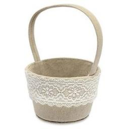 Linen Round Basket with Lace Natural 140 x 110 x 220 mm