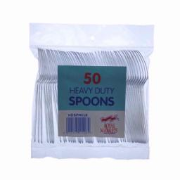 Heavy Duty Plastic Clear Spoons pack of 50