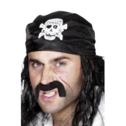 Pirate Bandana, Black, with Skull & Crossbones
