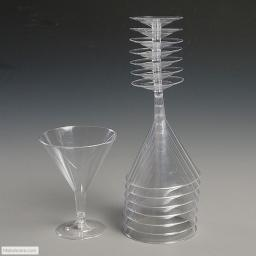 6 Disposable Clear Plastic Cocktail Glasses - 175ml