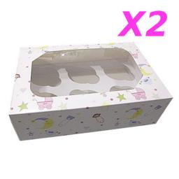 6 Muffin Boxes Baby Shower Christening 2/pack