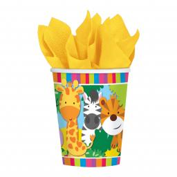 Jungle Friends Paper Party Cups 266ml pack of 8