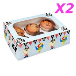 Pirates 6 Muffin/Cupcake Boxes 2/Pack