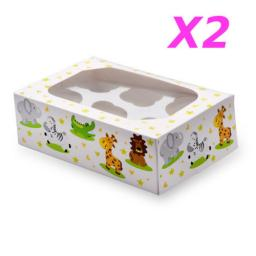 6 Muffin/Cupcake Boxes Animals 2/pack