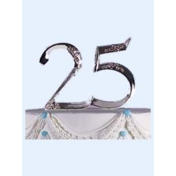 Silver 25th Anniversary Cake Topper Decoration
